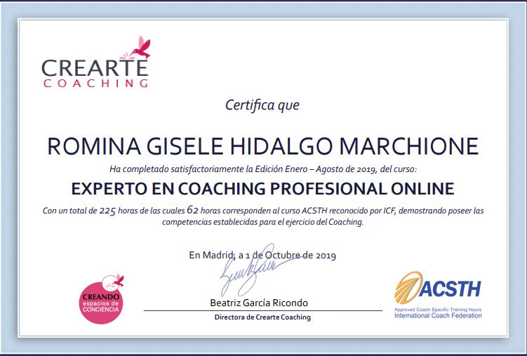 Experta en Coaching Profesional | Romina Hidalgo Marchione